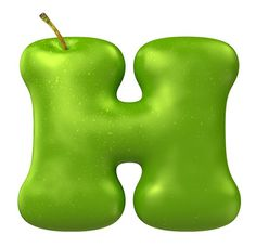Apple Green font letter H #font #apple #hand #made