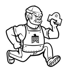 DWTCo. - Detroit Wood Type Co. Mascot #line #white #mascot #letterpress #black #cartoon #art #and #logo