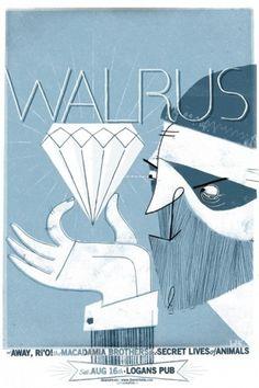 Walrus & Away, R`io! @ Logan`s Pub | Metropol Poster Shop #gig #monochrome #drawn #poster #hand