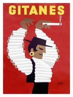 Gitanes Swiss Cigarette Vintage Poster Giclee Print by Herve Morvan at AllPosters.com #swiss #cigarette #gitanes #vintage #poster