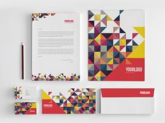 Colorful Triangles Stationery. Download here: http://graphicriver.net/item/colorful-triangles-stationery/6828143?ref=abradesign #pattern #modern #simple #colorful #minimal #stationery #template #download