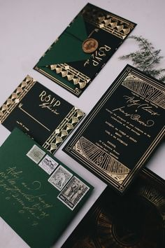 Vintage Art Deco emerald green, black and gold foil wedding invitation suite | Ode Studios