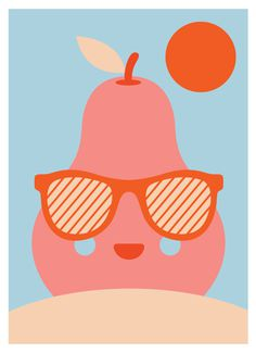 Enjoy Sunbath, by GH Yeoh #inspiration #creative #pear #design #graphic #illustration #colorful