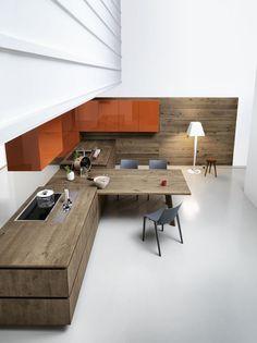 Oak fitted kitchen without handles CLOE – COMPOSITION 3 by Cesar Arredamenti design Gian Vittorio Plazzogna