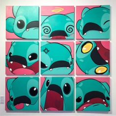 Ringo Monsters emotes, (9) acrylic on canvas, 30x30 in. 2018