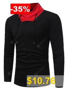 Shawl #Collar #Color #Block #Drawstring #T-shirt #- #BLACK