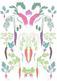 Malin Rosenqvist #plants #print #food #vegetables #illustration #nature