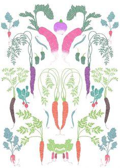 Malin Rosenqvist #plants #print #food #vegetables #illustration #nature