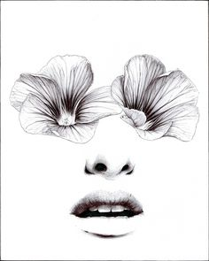 """HorrorVacui"" by Beniamino Leone #illustration #sketch #drawing #black and white #flowers #eyes #petals #lips #face"
