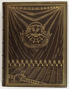 etatdebauche:Fine binding signed Quinet, with a nice decoration with small tools on the upper board, on Les Premières illustrées, year 188 #gold