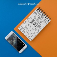Notepad and smartphone on orange and blue background Free Psd. See more inspiration related to Background, Mockup, Paper, Blue, Mobile, Orange, Doodle, Smartphone, Mock up, Drawing, Decorative, Display, Screen, Notepad, Up, Items, Composition and Mock on Freepik.