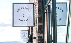 Logo and exterior signage designed by Bielke+Yang for contemporary fashion distributor Holzweiler #typography