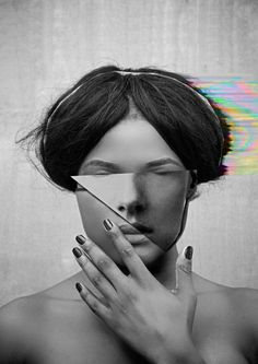 Digital Mirrors on Behance #c #color #digital #mirror #portrait #glitch #blackandwhite