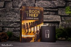 The Book Thief with black domino flask