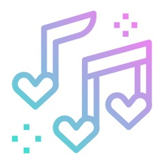 See more icon inspiration related to music, love, ballad, love and romance, music and multimedia, romantic music, valentines day, music player, music notes, romantic, quaver, song and hearts on Flaticon.