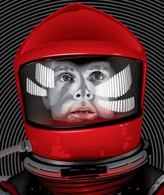 artwork by Tracie Ching | tracieching.com #kubrick #astronaut #helmet #sci #space #fi #illustration #odyssey #vintage #film #stanley