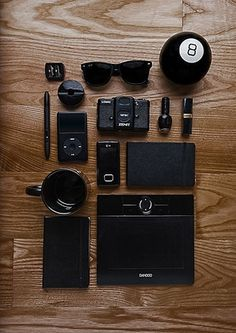 Things Organized Neatly #glasses #phone #ipod #camera #black #wood #moleskine #cup