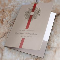 Cactus & Tropicals Event Venue & Wedding Services Folder #doily #presentation #folder #ribbon