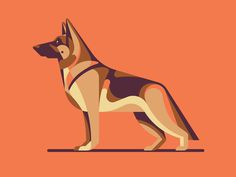 German Shepherd by DKNG #illustration #icon #iconic #geometric #animal #dog #shepherd
