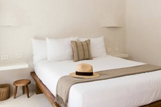 Casa Pueblo's ethos of natural minimalism continues in the guest rooms.