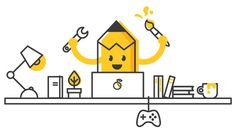 Illustration for Coming Soon page #illustration #design #comingsoon #lines #happy #working #yellow #crayon #desk