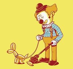 clown dog cleaning up tshirt balloon animal circus