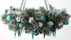 How To Make a Wreath Chandelier #christmas #diy #holiday