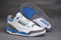 Women Jordans 3:White/Blue Color Retro Shoes #shoes