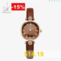 Shengke #K9009 #Luxury #Ladies #Watch #Leather #Strap #Diamond #Watch #- #BROWN