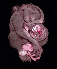 this isn't happiness™ (The Book Show), Peteski #fantasy #beast #claws #illustration #horns #embrace #protection #love #beauty