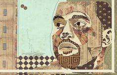 """That's That New Ye"" www.KyleMosher.com #kylemosher #newspaper #hiphop #illustration #portrait #vintage #art #rap"