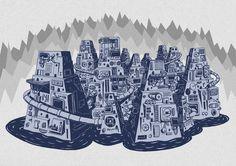 Thierry Birkenstock - Big City #oniric #mecanic #birken #city #big #birkenstock #thierry #landscape #digital #illustration #drawing #sketch #winter