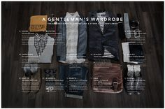 Gentleman's Wardrobe #photo #infographic #neatly #fashion #type #organized #style