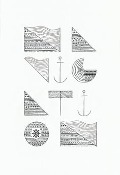 NAVIGATION Art Print #typography #pattern #anchor