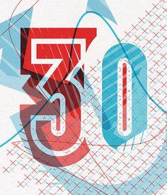 '30' #overprint #print #screenprint #typography