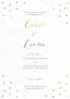 Goldie Dots - Engagement Invitations #paperlust #engagementinvitation #engagementcard #engagementinspiration #design #paper #foilstamped