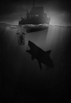 Noir Series Vol. 2 #film #white #water #noir #horror #bite #black #shark #jaws #cage #deep #boat #and
