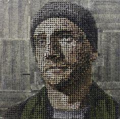 Flavorwire » Andrew Meyers' Crazy 3D Screw Portraits #screw #painting #portrait #art