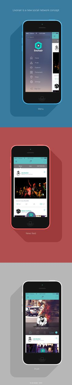 Livonair - New social network concept - mobile version on Behance #ios