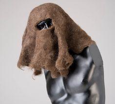 hair art, human hair, burka, headscarf, veil, brunette, brown hair, material experiments, material