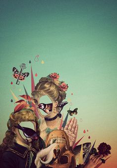photo #geometry #retro #girls #bird #illustration #vintage #poster #gradient #skull #collage