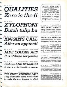Stymie Bold Italic type specimen