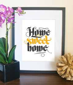 Home Sweet Home // 8x10 calligraphy print in by typeincolor #calligraphy #lettering #vector #letters #in #color #type #typography