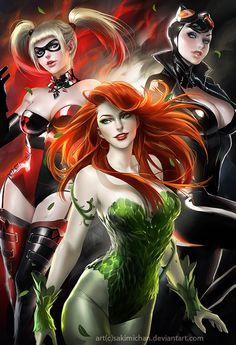 Dc girls by *sakimichan on deviantART #harley #catwoman #illustration #ivy #comics #quinn #poison