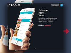 http://www.radolo.com homepage design. Custom software design and web developers New Orleans. Clean / Dark / Minimal design.