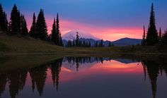 Romantic sunset, Mt.Rainier