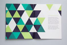 print, booklet, green, blue, triangle, spread, geometric