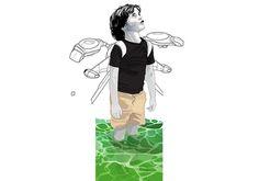 ILLUSTRATIVE kirkland hyman #kid #flying #backpack #jet #sea #beach