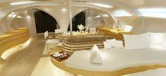 Yacht Adastra modern living area interior #super #adastra #yacht #modern