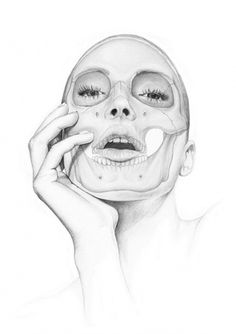 this isn't happiness™ (Know Thyself), Peteski #woman #anatomy #ray #illustration #skull #hand #sketch